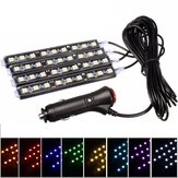4 In 1 36 LED Car Atmosphere Lights Interior Strip Lamp Cigarette Lighter Plug