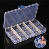 5PCS 15 Cells Compartment Plastic Storage Box Adjustable Detachable for Nail Tip Gems Little Stuff