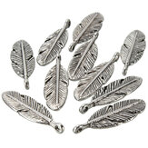 10Pcs Silver Metal Feather Necklace Pendant Charm DIY