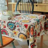 Sun flower Cotton Linen Tableware Mat Table Runner Tablecloth Desk Cover Heat Insulation Bowl Pad
