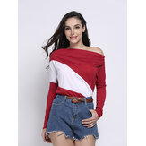 Casual Stripe Color Block Batwing Sleeve V Neck Loose Women T-Shirt