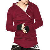Men's Casual Stitching Diagonal Zipper Hooded Sweatshirt