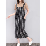 Large Size Women Set Suit Pure Color Top with White Dots Pockets Jumpsuits