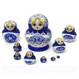 1 Set 10Pcs Russian Dolls Wooden Hand Painted Nesting Babushka Matryoshka Present Gift