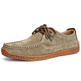 Men Moc Toe Stitching Suede Soft Sole Oxfords