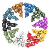 70 piezas de tablero de dados poliédricos Juego de dados RPG 10 colores 4D 6D 8D 10D 12D 20D con 10 Bolsa