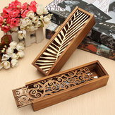 Vintage Hollow Wooden Pencil Case Holder Wood Cosmetic Makeup Stationery Box Storage