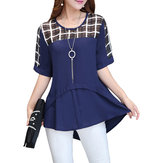 Casual Women Half Sleeve Check Patchwork High Low Blouse
