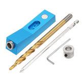 Aluminiumlegering Pocket Gat Jig met 1 Gat en Magneet en Stap Boor Schroevendraaier Bit 9.5mm Schuine Gatenboor Gids Houtbewerking Tool