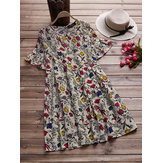 Original Vintage Women Floral Print Short Sleeve Blouse