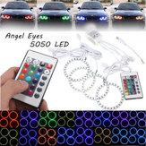 4PCS RGB 80MM Multi-Color 5050 Flash LED SMD 12V Angel Eyes and Remote Control