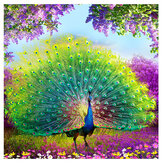 5D DIY Punto de Cruz Decoraciones Diamante Bordado Pavo Real Abre Pintura de Pantalla