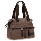 Ekphero Women Men Canvas Multi Pocket Handbags Casual Pillow Shoulder Crossbody Bags