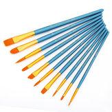 KCASA 10Pcs/Set Different Shape Watercolor Gouache Paint Brushes Nylon Brush Home Wall Decor Tool