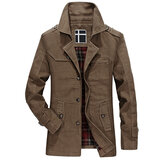 Winter Casual Mid Long Slim Fit Pockets Epaulet Trench Coat Outwear Jacket for Men