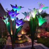 2pcs énergie solaire 4 LED lumières de fleurs de lis lampes multicolores changeantes jardin extérieur potager jardin potager