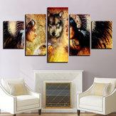 5UnidsConjuntoLoboModernoImpresión en Lienzo Pinturas Arte de la pared Imágenes Decoración para el hogar Sin Marco