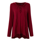 Sexy Loose Women Solid Lace Up V Neck Long Sleeve Hooded T-Shirt