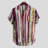 Mens Fashion Colorful Pockets Design Casual Shirts