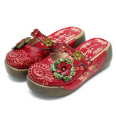 SOCOFY Red Flower Soft Genuine Leather Shoe