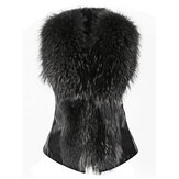 Casual Slim Bow Faux Fur Thick Vest Coat