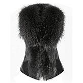 Casual Slim Bow Faux Fur Thick Vest Coat