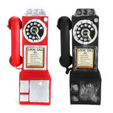 Original Antique Rotary Dial Pay Phone Model Vintage Phone Booth Call Telephone Figurine Decorations Gift