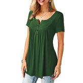 Women Round Neck Short Sleeve Button Up Casual Loose Tops