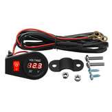 12V-24V Motorcycle LED Digital Volt Meterr Gauge with Switch Wiring Harness