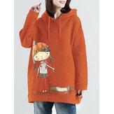 Plus Sudadera con capucha de manga larga con estampado de dibujos animados