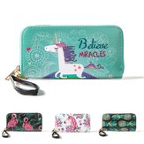 Multifunctionele Unicorn Women Wallet Leather Purse Card Houder Rits Telefoon Tas voor iPhone Samsung