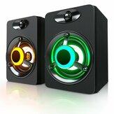 SADA V-188 Colorful LED Light 2.0 Computer Lautsprecher Bass Stereo Dual Lautsprecher für Telefon PC Laptop