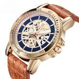 BAGARI1688montre-braceletàquartzen cuir imperméable à l'eau