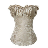 9 Steel Bones Frill Shirred Printed Satin Lace Up Overbust Corset Wedding Top