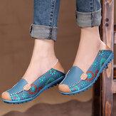 Grande Taille Femme Chaussures de Moccasins Florales Plates Souple en Cuir Bout Rond