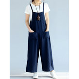 Casual Strap Sleeveless Pockets Loose Women Jumpsuits