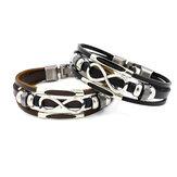 Multicouche Infinity Bracelet noeud en cuir de mode décontracté