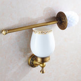 WANFAN 3709F Home Bathroom Wall Mounted Bronze Antique Brass Toilet Cleaning Brush with Ceramic Holder