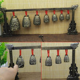 Chinese Musical Instrument Bronze Meditation Gong with 7 Ornate Cow Bell Set