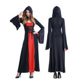 Original Halloween Women Court Vampire Witch Costume Dress with Headwear