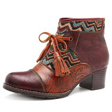 Original SOCOFY Stitching Stripe Genuine Leather Ankle Boots