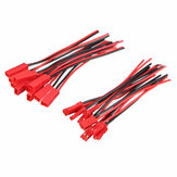 10 Pairs 2 Pins JST Female + Male Connector Plug Cable Wire Line 110mm Red