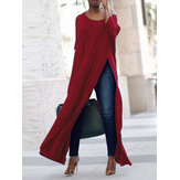 S-5XL Casual Mujer Side Split Long Maxi Camisas