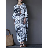 Casual Women Random Floral Printing Batwing Sleeve Maxi Dresses