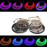 5M 90W 300SMD WS2812B LED RGB Colorida Tira de Luz impermeable IP65 Blanca/Negra PCB DC5V