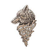 Vintage Copper Alloy Wolf Totem Head Brooch Pin for Men