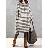 Casual Striped Print Loose Long Sleeve Women Dress
