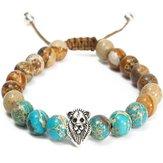 Vintage 8mm Beads Jasper Stone Lion Head Men Women Bracelet