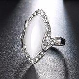 Bohemian White Resin Rhinestone Oval Opal Geometric Rings
