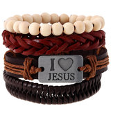 Religious I Love Jesus Bracelet Cowhide Multilayer Wristband